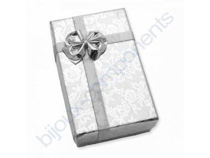 Krabička na šperky - stříbrná s květinovým vzorem, cca 50x80x28mm