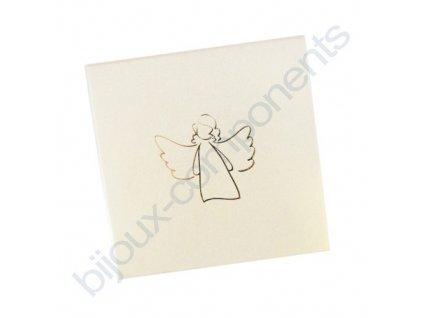 Krabička na šperky - krémová se zlatým andělem