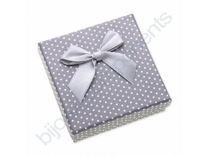 Krabička na šperky - šedá s puntíky