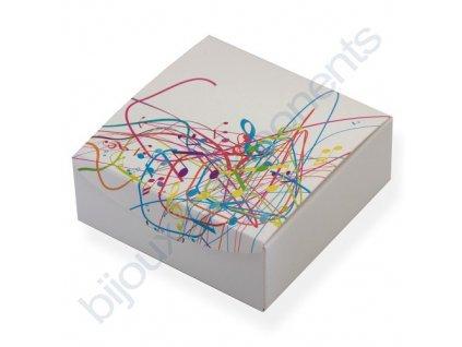 Krabička na šperky - bílá s barevnými notami 85x85x35mm