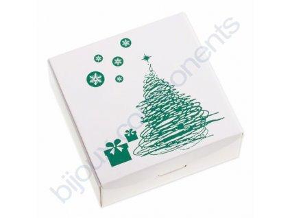 Krabička na šperky, bílá s vánočním vzorem
