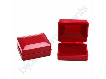 Krabička na šperky - Plastová, červená, cca 58x44x26mm