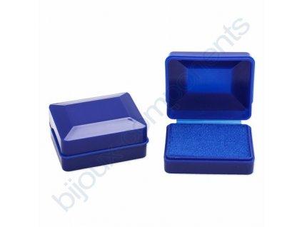 Krabička na šperky - Plastová, modrá, cca 58x44x26mm