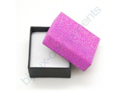 Krabička na šperky - černá/růžová třpytivá 45x50x25mm