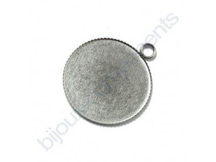 Přívěskový kulatý kotlík (lůžko) s očkem , cca 25 mm