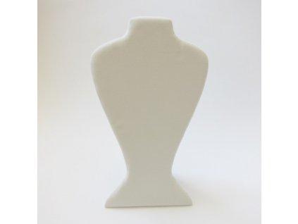 sametový bižuterní krk, 36x21cm, světle krémový