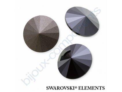 SWAROVSKI ELEMENTS kameny - Rivoli Chaton, jet hematit, 12mm