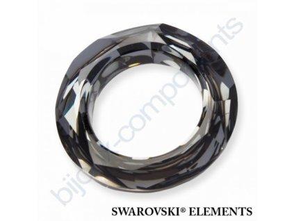 Swarovski tvarovka - kroužek, crystal silver night, 20mm