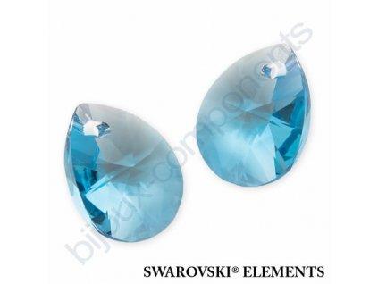 SWAROVSKI ELEMENTS přívěsek - XILION hruška (mini), aquamarine, 12mm