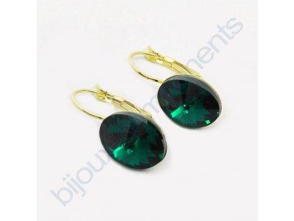 Náušnice s kameny Swarovski crystals, rivoli 4122, emerald / pozlacené komponenty