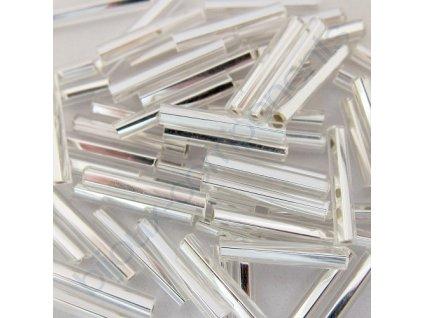 PRECIOSA Skleněné tyčinky hladké s hranatou dírkou - krystal / stříbrný průtah