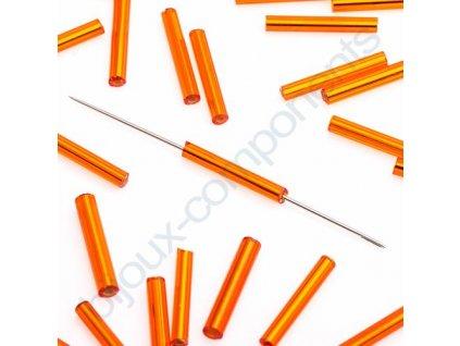 PRECIOSA Skleněné tyčinky hladké - oranžové, cca 15mm