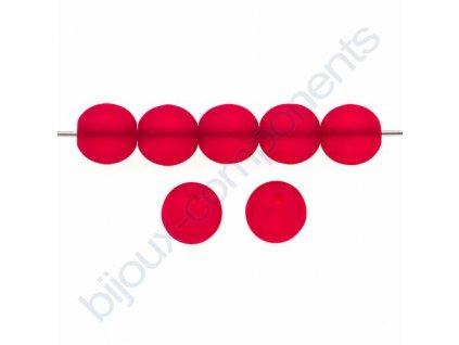 Skleněné korálky - ramš, červené / mat