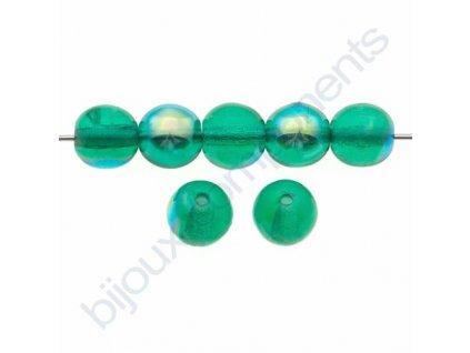 Skleněné korálky - ramš, emeraldová s AB pokovem