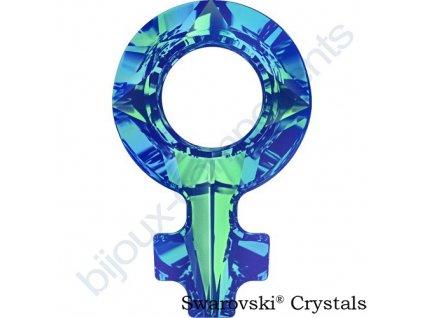 SWAROVSKI CRYSTALS přívěsek - symbol ženy, crystal bermuda blue F, 18x11,5mm
