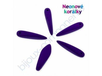 Neonové korálky s UV efektem, jazýčky, modro-fialová
