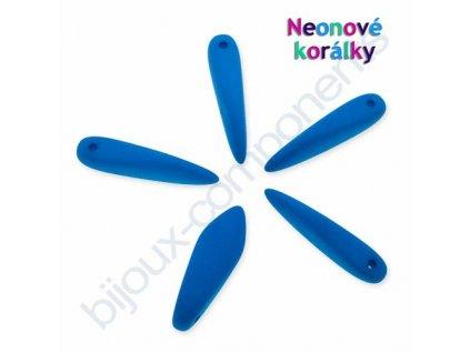 Neonové korálky s UV efektem, jazýčky, modrá