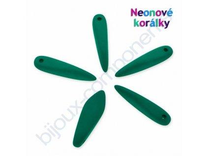 Neonové korálky s UV efektem, jazýčky, tmavě zelená