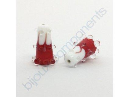 Lampový skleněný korálek - ručně vinutý, cca 24x11mm, červeno-bílý+krystal