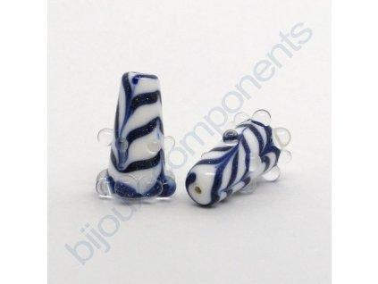 Lampový skleněný korálek - ručně vinutý, cca 24x11mm, bílo-modrý avanturín+krystal