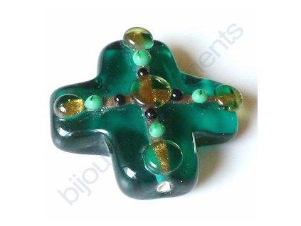 lampové korálky - ručně vinuté, kříž, zelený