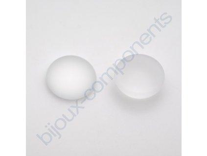 Kabošon kulatý, cca 15mm, matovaný krystal