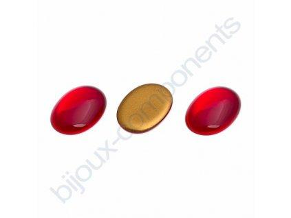 Kabošon oválný, cca 25x18mm, červený