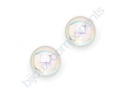 Kabošon kulatý, cca 5mm, krystal s AB pokovem