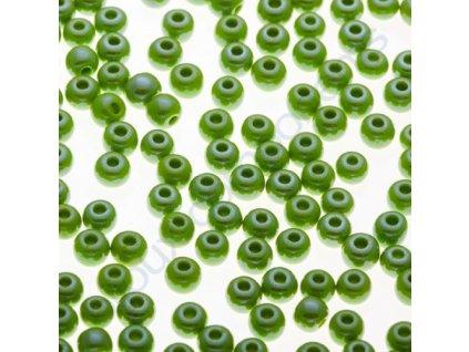 PRECIOSA rokajl - zelený s pokovem, 6/0 cca 4mm