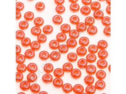 PRECIOSA rokajl - oranžové/hematit, 7/0 cca 3,5mm
