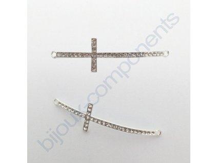 Kříž štrasový, prohnutý, cca 52x14mm