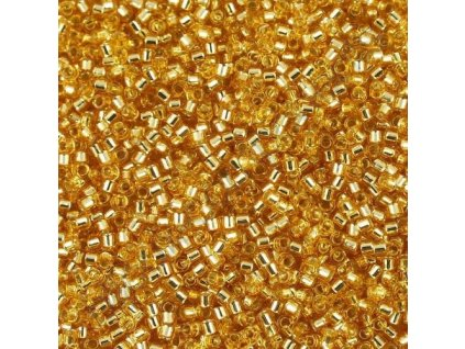 Miyuki Delica, Silver Lined Gold, vel.1,6 mm, průtah 0,8 mm