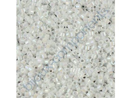 Miyuki Delica, Opaque White AB, vel.1,6 mm, průtah 0,8 mm