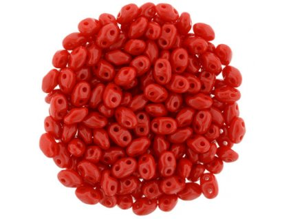 Matubo Miniduo, opaque red, 2,5x4 mm, průtah 0,7 mm, 5 g