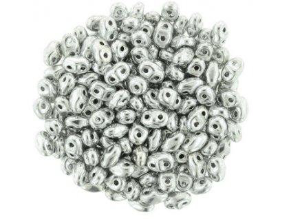 Matubo Miniduo, silver, 2,5x4 mm, průtah 0,7 mm, 5 g