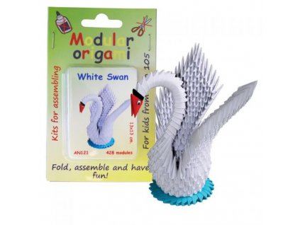 Origami sada - Bílá labuť, cca 13x13cm