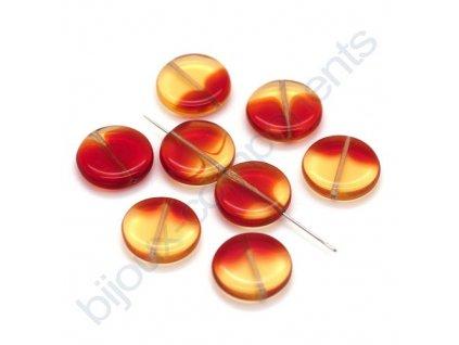 skleněné korálky - ramš, světlý topaz-červená, cca 15mm