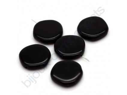 Skleněné korálky ramš - černé, cca 18mm