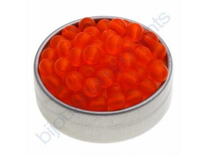 Skleněné mačkané korálky - oranžové mat, cca 6mm