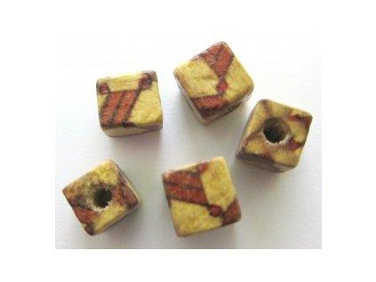 Dřevěné korálky kostka cca 10x10mm(6ks/balení)