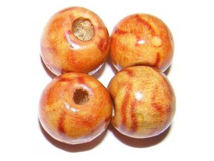 Dřevěné korálky kulička cca 13mm(6ks/balení)