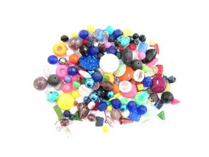 Skleněné ramšové perle - mix s bižuterními střepy - cca 500g (pro dekorační účely)