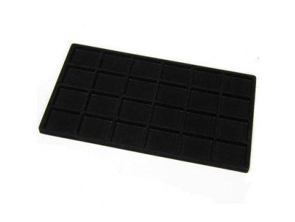 Obdélníkové plato na šperky z černého plastu se semišovým povrchem