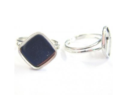 Prsten nastavitelný s kotlíkem (lůžkem) cca 13x13mm, min. vnitřní průměr cca 17mm