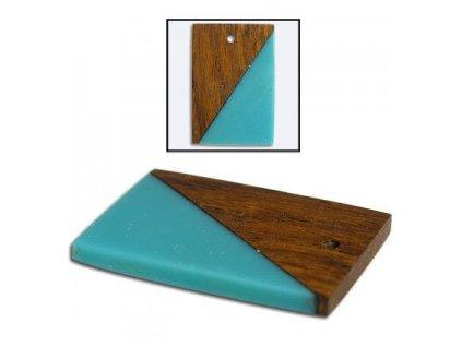 Dřevěný přívěsek kombinovaný, obdelník