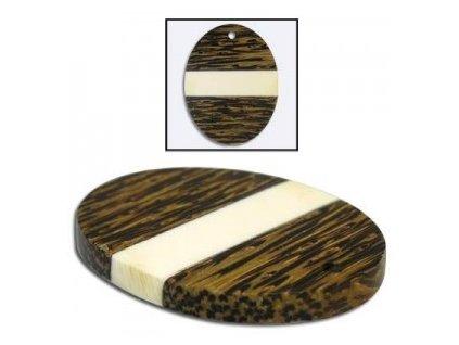 Dřevěný přívěsek kombinovaný, ovál