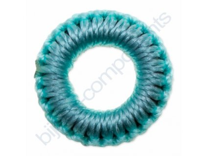 Obšívaný gumový kroužek - tyrkysový