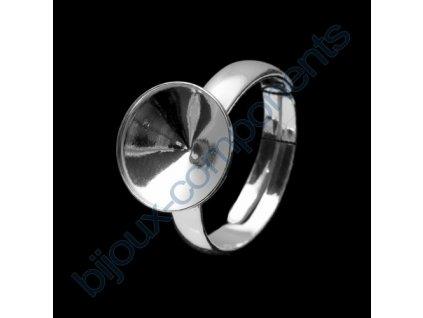 Prsten nastavitelný s kotlíkem na rivoli 1122 SS47 (cca 10mm) s okrajem