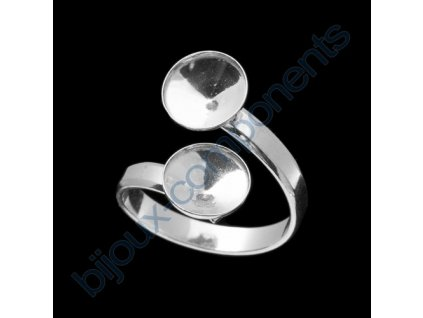 Prsten nastavitelný s dvěma kotlíky na rivoli 1122 SS39 (cca 8mm) s okrajem
