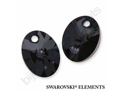 SWAROVSKI ELEMENTS přívěsek - XILION ovál, crystal silver night, 18mm
